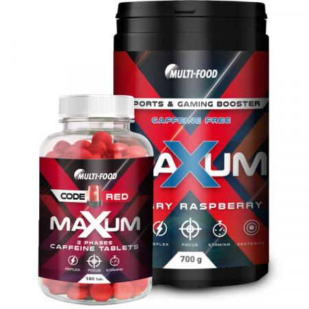 MAXUM eSports & Gaming Booster ohne Koffein + MAXUM Koffeintabletten
