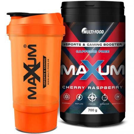 MAXUM eSports & Gaming Booster ohne Koffein + MAXUM Shaker